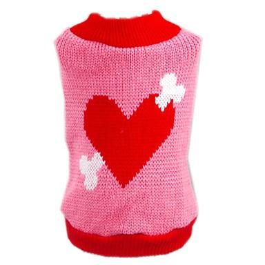 Kat Hond Truien Hondenkleding Hart Roze Acryl Vezels Kostuum Voor huisdieren Heren Dames Schattig Casual/Dagelijks Verjaardag