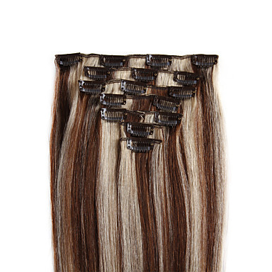 저렴한 가발 & 헤어 연장-Febay 클립 인 인간의 머리카락 확장 직진 인모 중간 브라운 / 표백제 금발