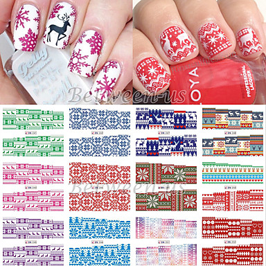 12 pcs Klassiek Wateroverdracht Sticker Nail Art Design Dagelijks