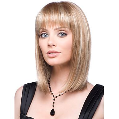 povoljno Perike i ekstenzije-Sintetičke perike Ravan kroj Stil Sa šiškama Perika Chestnut Brown Tamno Plava Sintentička kosa Žene Perika