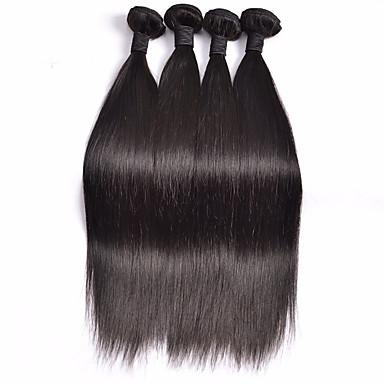 人毛 ペルービアンヘア 人間の髪編む ストレート ヘアエクステンション 4個 ブラック