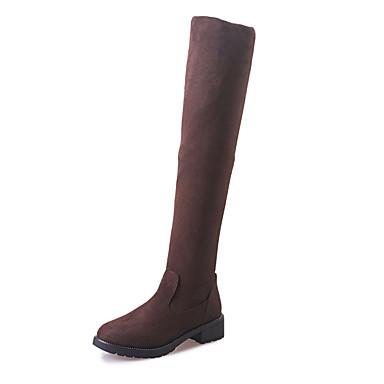 女性用 靴 カシミヤ 冬 コンフォートシューズ / コンバットブーツ ブーツ ウォーキング フラットヒール ラウンドトウ かぎホック ブラック / Brown