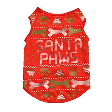 Kat / Hond Gilet Hondenkleding Bot Rood Katoen Kostuum Voor huisdieren Heren / Dames Kerstmis