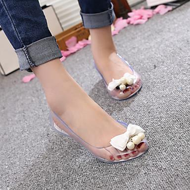 Feminino Sapatos PVC Verão Conforto Sandálias Rasteiro Heel translúcido Laço Flor Combinação Para Casual Branco Preto Champanhe
