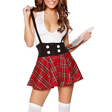 Cosplay Kostuums / Feestkostuum Cosplay Festival/Feestdagen Halloween Kostuums Rood Geruit Top / Rok Halloween / Carnaval Vrouwelijk