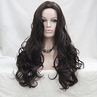 Pelucas sintéticas / Pelucas de Broma Rizado Con flequillo Pelo sintético Marrón Peluca Mujer Sin Tapa