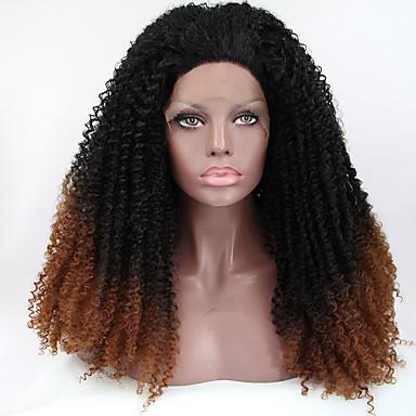 Naisten Synteettiset peruukit Lace Front perverssi Musta / tumma Auburn Luonnollinen peruukki Rooliasu peruukki