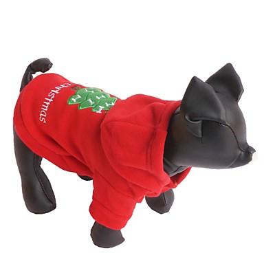Gato Cachorro Camisola com Capuz Roupas para Cães Natal Ano Novo Sólido Vermelho Ocasiões Especiais Para animais de estimação