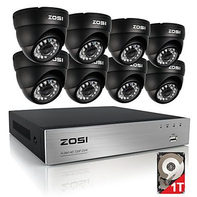 zosi® 8ch 720p hdmi cctv system video recorder 1tb 4pcs 720p home camera de segurança a prova de água kits de vigilância