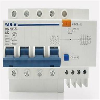 yan tai DZ47LE-63 4p de alta qualidade terra pequena fuga de ar interruptor do disjuntor