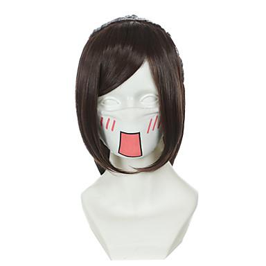 billige Kostymeparykk-Syntetiske parykker Kostymeparykker Rett Stil Med hestehale Lokkløs Parykk Gul Syntetisk hår Dame Parykk