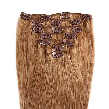povoljno Perike i ekstenzije-Febay S kopčom Proširenja ljudske kose Ravan kroj Ljudska kosa Srednja Brown / Bleach Blonde