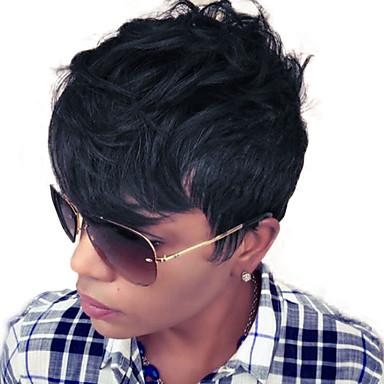 Human Hair Capless Parykker Ekte hår Bølget Klassisk Høy kvalitet Parykk Daglig