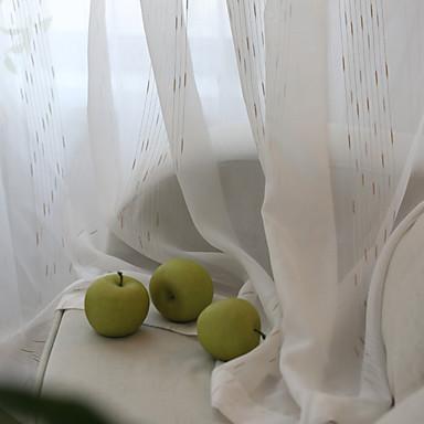 ロッドポケット グロメットトップ タブスタイル ダブルプリーツ ペンシルプリーツ 2パネル ウィンドウトリートメント 近代の, ジャカード織 縞柄 ベッドルーム ポリエステル 材料 シアーカーテンシェード ホームデコレーション