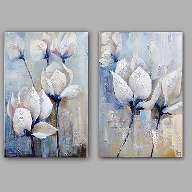 Pintada a mano Floral/Botánico Vertical, Clásico Modern Lona Pintura al óleo pintada a colgar Decoración hogareña Dos Paneles