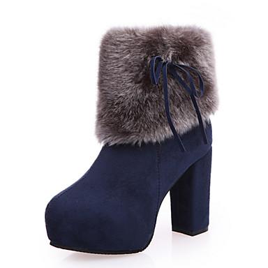 Dame Sko Kunstlær Vinter Komfort / Snøstøvler / Trendy støvler Støvler Tykk hæl Rund Tå Svart / Blå
