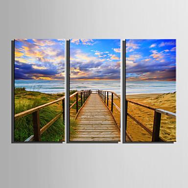 Landskap Moderne, Tre Paneler Lerret Lodrett Trykk