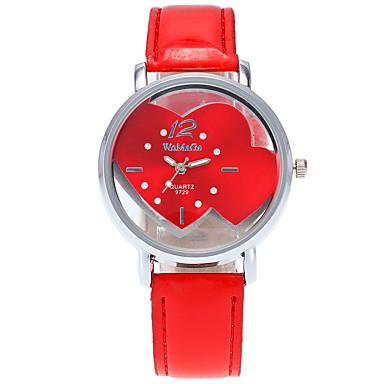 Dame Quartz Armbåndsur / Hverdagsklokke PU Band Heart Shape Fritid Mote Kul Svart Hvit Blå Rød Rosa