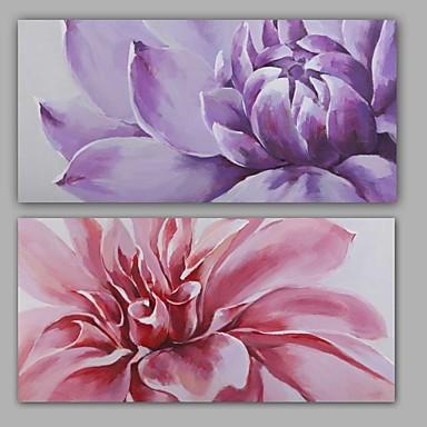 Pintura a Óleo Pintados à mão - Floral / Botânico Modern Realismo Tela de pintura