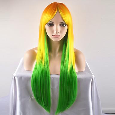 Naisten Synteettiset peruukit Suojuksettomat Pitkä Hyvin pitkä Suora Golden Blonde Luonnollinen peruukki Halloween Peruukki Carnival