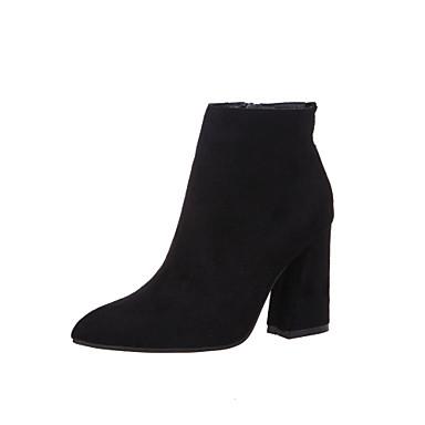 女性-ドレスシューズ-マイクロファイバー-チャンキーヒール-コンフォートシューズ-ブーツ-ブラック / ブラウン