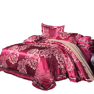 花柄 布団カバーセット 4個 コットン / シルク/コットンのブレンド ラグジュアリー ジャカード織 コットン / シルク/コットンのブレンド クィーン 幅224 x 長さ234cm 4枚(1x布団カバー、1xフラットシート、2xシャム)