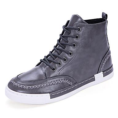 メンズ 靴 レザーレット 春 秋 冬 コンフォートシューズ ファッションブーツ ブーツ 用途 カジュアル ブラック グレー カーキ色