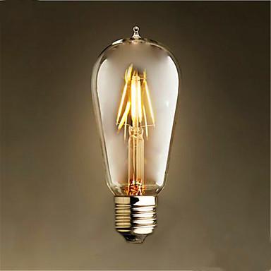 1kpl 4W 300-350lm E26 / E27 LED-hehkulamput ST58 4 LED-helmet COB Koristeltu Lämmin valkoinen 220-240V