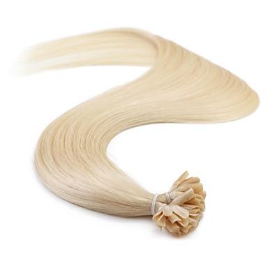 Fusjon / U-tipp Hairextensions med menneskehår Ekte hår Rett Dame Daglig