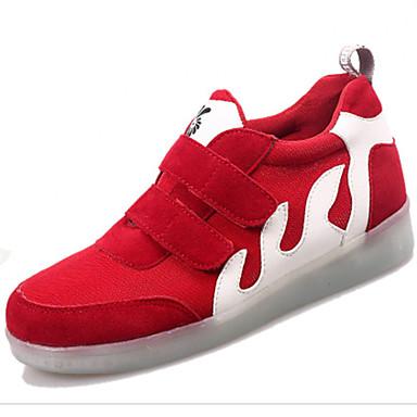 ユニセックス-カジュアル アスレチック-スエード-フラットヒール-コンフォートシューズ 幼児用靴 アンクルストラップ 靴を点灯-スニーカー-ブラック レッド ホワイト
