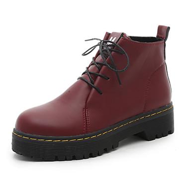 Dame-PU-Lav hæl-Komfort-Støvler-Fritid-Svart Rød