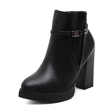 Naiset Kengät PU Syksy Talvi Maiharit Bootsit Paksu korko Pointed Toe Käyttötarkoitus Kausaliteetti Musta