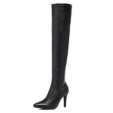 Naiset Kengät Tekonahka Talvi Muotisaappaat Bootsit Piikkikorko Pointed Toe Käyttötarkoitus Puku Musta