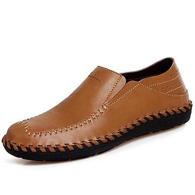 Miesten kengät Nappanahka Kevät Syksy Comfort Mokkasiinit varten Kausaliteetti Toimisto & ura Juhlat Musta Vaalean ruskea