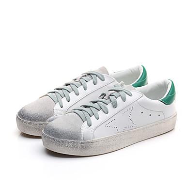Dame-Mikrofiber-Flat hæl-Komfort-Sneakers-Fritid-Hvit