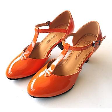 Tanssikengät-Oranssi Persikka Punainen Pinkki Manteli-Latinalainen-Tekonahka-Stilettikorko-
