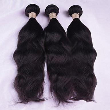 3 paquetes Cabello Malayo Ondulado / Ondulado Natural Cabello humano Tejidos Humanos Cabello Cabello humano teje Extensiones de cabello humano