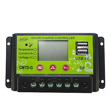 PWM 12/24V10A LCD Dual USB Gjeldende visning Temperaturkompensasjon Batteri Auto Regulator Solar Charge Controller med Komplett Gjerder