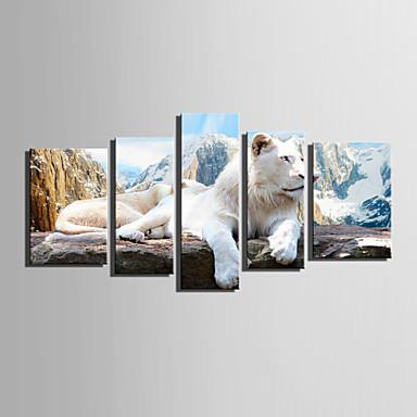 Eläimet European Style, 5 paneeli Kangas Pysty Painettu Wall Decor Kodinsisustus