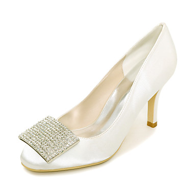 Women's Shoes Satin Spring / Summer Basic Pump Wedding Shoes Stiletto Heel Square Toe Rhinestone Blue / Champagne / Ivory