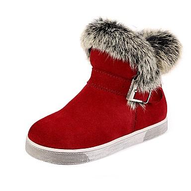 Tyttöjen Kengät Nahka / Turkis Talvi Comfort / Talvisaappaat / Muotisaappaat Bootsit Kävely Soljilla varten Musta / Harmaa / Punainen