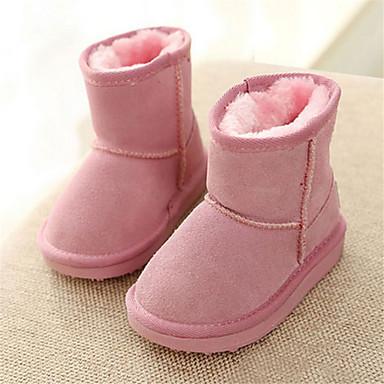 女の子 靴 スエード 冬 コンフォートシューズ スノーブーツ ブーツ フラットヒール 用途 カジュアル パープル ピンク