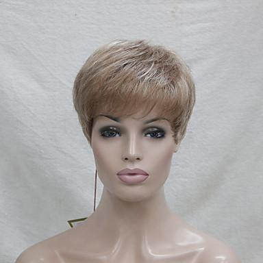 Synteettiset peruukit Suora Tiheys Suojuksettomat Monofilamentti Naisten Vaaleahiuksisuus Luonnollinen peruukki Synteettiset hiukset