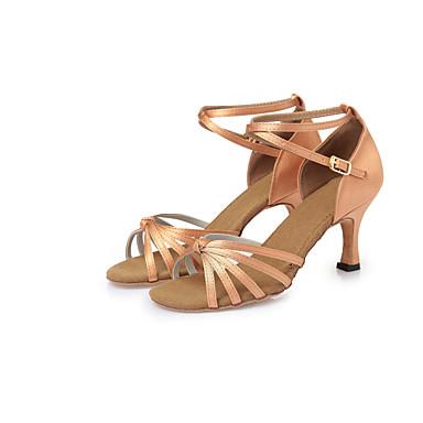 Mujer Zapatos de Baile Latino Satén Tacones Alto Corbata de Lazo Tacón Stiletto No Personalizables Zapatos de baile Marrón oscuro / Nudo