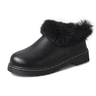 Dame-PU-Lav hæl-Komfort-Støvler-Fritid-Svart Grå