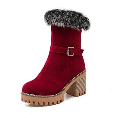 Dame Sko Fleece Pels Vår Høst Vinter Trendy støvler Ankelstøvel Støvler Tykk hæl Platå Rund Tå Glidelås Til Avslappet Formell Fest/aften