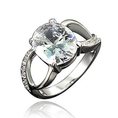 女性用 キュービックジルコニア 指輪 - ゴールドメッキ, 18Kゴールドメッキ ホワイト, レッド, ブルー