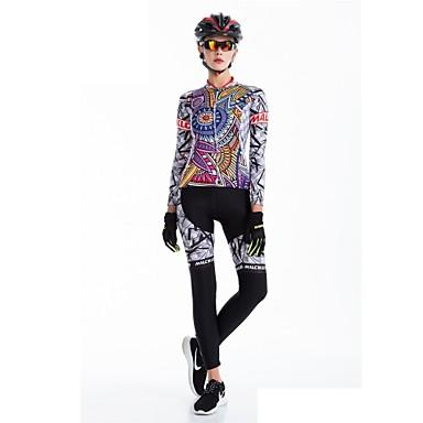 Malciklo 女性用 長袖 タイツ付きサイクリングジャージー ブリティッシュ バイク 洋服セット, 速乾性, 高通気性, 3Dパッド