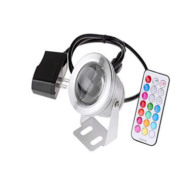 billige Utendørsbelysning-1pc 10 W Undervannslys Vanntett / Fjernstyrt / Mulighet for demping RGB 85-265 V / 12 V Utendørsbelysning / Svømmebasseng / Courtyard 1 LED perler