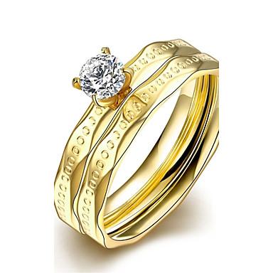 女性 指輪 ダブルレイヤー 欧風 ステンレス鋼 ジルコン ジュエリー 結婚式 パーティー 日常 カジュアル スポーツ